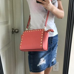 93ae2438163d Michael Kors Bags - MK Stud MD Selma leather Crossbody bag watermelon
